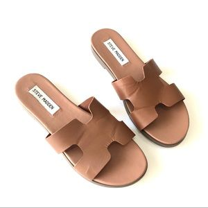 STEVE MADDEN New Harriet Brown Leather Sandals